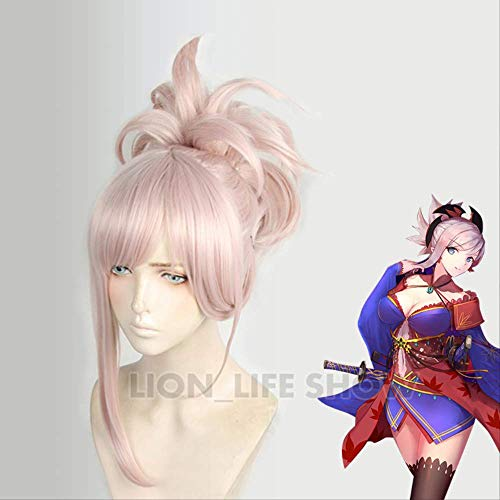 Fate Grand Order FGO Cosplay peluca Miyamoto Musashi Saber peluca peluca sintética resistente al calor mujeres Cosplay accesorios pendiente