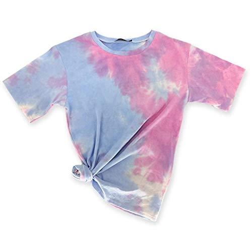 HLSX Summer Women's Short SleevePrinted Loose T-Shirts Tops Harajuku Streetwear Tees Female Plus,Multi,L