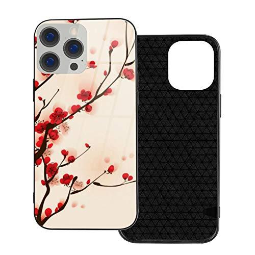Compatible con iPhone 12 Pro Max, carcasa resistente de cuerpo completo, funda de vidrio TPU suave para iPhone 12 Pro Max 6.7 pulgadas, pintura estilo asiático, flor de ciruelo en primavera