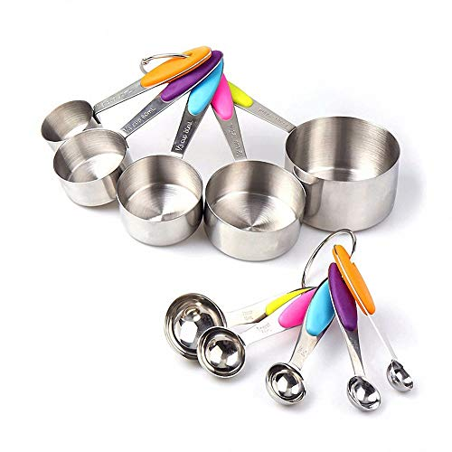 10 Piece Stainless Steel Measuring Cups and Spoons Set with Soft Silicone Handles,Foldable Baking Measuring Tool & Utensils for Cooking Baking