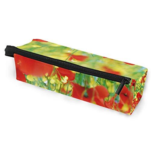 Crayon sac stylo étui pochette jaune maquillage de fleur rouge lunettes de soleil cosmétiques pour école de voyage filles garçons