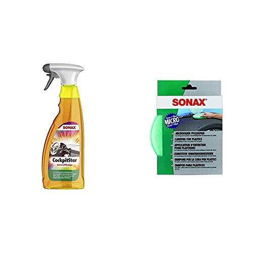 SONAX CockpitStar (750 ml) reinigt und pflegt alle Kunststoffteile im Auto, antistatisch und staubabweisend & MicrofaserPflegePad (1 Stück) für gleichmäßiges Auftragen von Kunststoffpflegemitteln