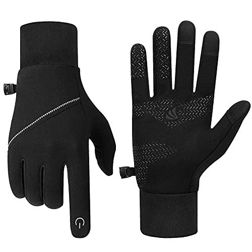 Lapulas Unisex Touchscreen Handschuhe, Outdoor Sporthandschuhe Leichte Laufhandschuhe für Walking Joggen Fahren Radfahren Wandern und so weiter Outdoor-Sport im Frühling Herbst Frühwinter(Schwarz, M)