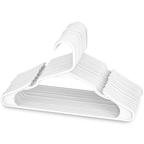 Sharpty Plastic Clothing Notched Hangers Ideal for Everyday Standard Use, (White, 20 Pack)