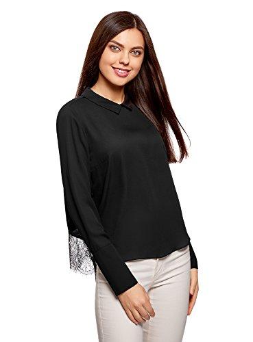 oodji Collection Mujer Blusa con Cuello e Inserción de Encaje, Negro, ES 42 / L