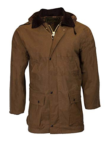 Walker & Hawkes - Mens Unpadded Wax Jacket Countrywear Hunting Waxed Coat - Beige - X-Large