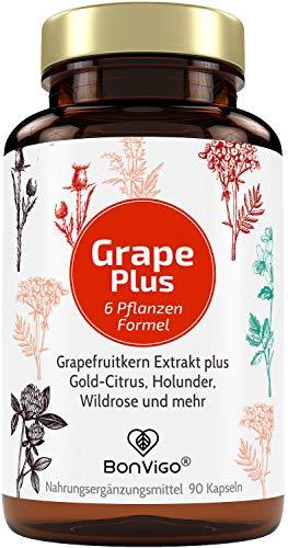 BonVigo® Grapefruitkernextrakt Plus Kapseln - Mit erweitertem Pflanzen-Komplex - Enthält rein natürliches Vitamin C der Hagebutte: Immunsystem unterstützen, Zellen schützen, Energie stärken*