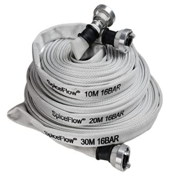 Feuerwehrschlauch | Industrieschlauch | 10 Meter D- Schlauch mit Storz-Kupplung | 16 Bar | mit VA-Draht eingebunden