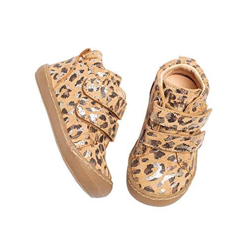 Pyk - Zapatos de bebé para niños y niñas, de piel orgánica, diseño de leopardo, tallas 20-25, color Beige, talla 23 EU