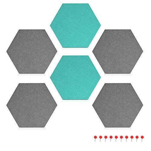 Navaris Filz Memoboards Set sechseckig - 6x Filz Pinnwand 15x17x1,5cm mit Stecknadeln und Klebeband - Filzboard für Küche und Büro - Grau Türkis