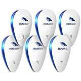HOSOLO Ultrasonic Pest Repeller 6 Packs, 2020 Newest Electronic Indoor Plug in for Mosquito, Spider, Mice, Ant, Insects, Roaches, Rodent,100% Safe for Kids and Pet