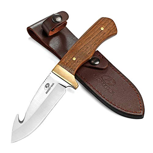 Mossy Oak Fixed Blade Gut Hook Knife, 9.5-inch Full Tang Field Processing Knife - Wooden Handle, Leather Sheath Included, for Skinning, Hunting, Outdoors