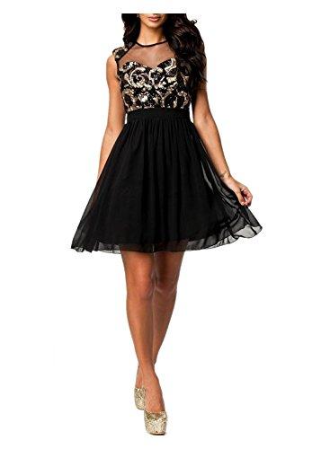 DIVA-MODE Damen Abendkleid mit Pailletten Partykleid Disco Kleid Minikleid Schwarz Gr.S