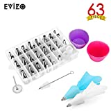 Evizo 63 Pieces Cake Decorating Supplies Tools Set with 42 Stainless Steel Piping