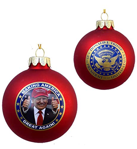 Kurt Adler President Donald J. Trump Glass Ball Ornament Making America Great Again Patriotic Hanging Christmas Ornament
