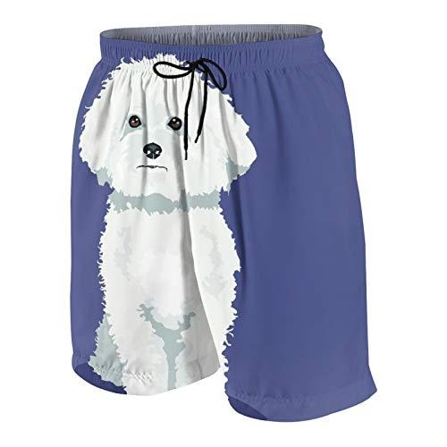 Pantalones Cortos de Playa para Hombre,Perro Bichon Frise Blanco a un Color,Trajes...