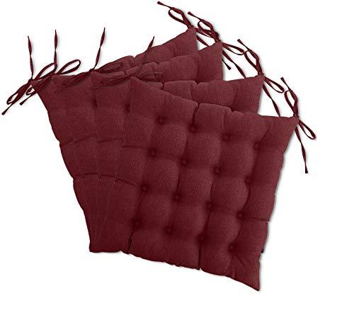 4er Set Sitzkissen Stuhl OekoTex 40x40 cm - dunkelrot weinrot Sitzauflage Auflage Polster Stuhlkissen Sitzpolster mit Bändern
