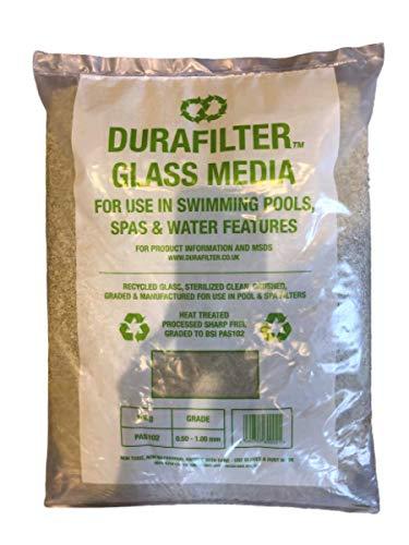 Durafilter - Filtro de arena sostenible para piscinas (vidrio de repuesto, 10 kg, 0,5-1,00 mm, grado fino)