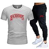 GIRLXV Pantalones Cortos con Cordón para Hombre Backwoods Camiseta Impresa Traje Deportivo Bolsillo Pantalones Casuales Moda Deportes Traje Superior M