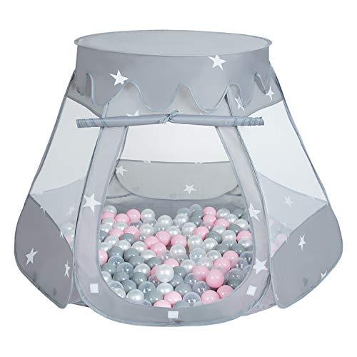 Selonis Baby Spielzelt Mit Plastikbällen Zelt 105X90cm/100 Bälle Plastikkugel Kinder, Grau:Perle-Grau-Transparent-Puderrosa