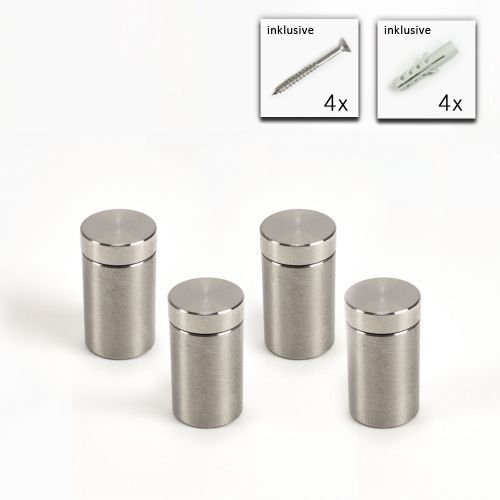 V2A schraubbarer Abstandshalter im Set 13 mm x 20 mm, Plattenhalter, Glasplatten Halter, Befestigung