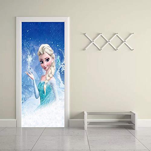 Türaufkleber 3D Prinzessin Elsa Cartoon Home Decor Für Mädchen Schlafzimmer Wasserdicht Erneuern Tapeten Selbstklebend 77 * 200cm