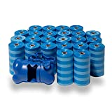 Best Pet Supplies Dog Poop Bags for Waste Refuse Cleanup, Doggy Roll Replacements for Outdoor Puppy Walking and Travel, Leak Proof and Tear Resistant, Thick Plastic - Blue Strips, 360 Bags (BS-360BT)