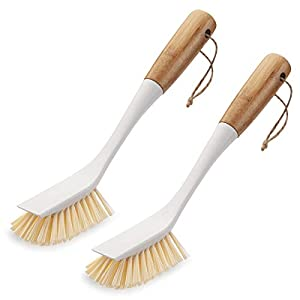 Amazer 2-Pack Dish Brush, Scrub Brush Cleaner with Wooden Long Handle Good Grip Kitchen Dish Washing Brushes for Pot Pan… |