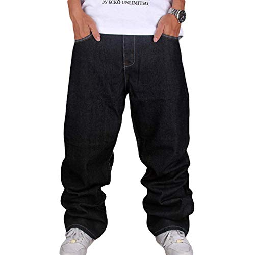 Männer Vintage Hip Hop Baggy Jeans Denim Street Dance Rochenhosen Straight Loose Fit Teenager Jungen Schwarz 36