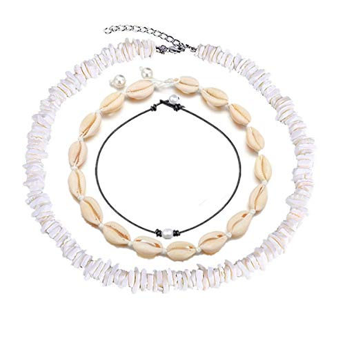 Koobysix Collar de cadena Puka Chip, Choker para mujeres y hombres – Tropical Hawaiian Beach Puka Chips, Shell Surfer Choker collar joyas ajustable (blanco)
