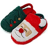 SEANNEL Boys and Girls House Slippers Kids Animal Indoor Slipper Fuzzy Toddler Home Shoes U821ETMT001-Santa-22-23
