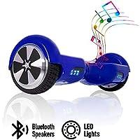 " ACBK - Patinete Eléctrico Hover Autoequilibrio con Ruedas de 6.5"" (Altavoces Bluetooth + Luces Led integradas) Velocidad máxima: 10-12 km/h - Autonomía 10-20 km (Azul)"