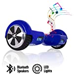 ACBK - Patinete Eléctrico Hover Autoequilibrio con Ruedas de 6.5' (Altavoces Bluetooth + Luces Led integradas) Velocidad máxima: 10-12 km/h - Autonomía 10-20 km (Azul)