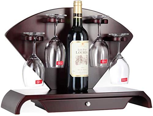 TUHFG Estantería de Vino Estante de Vino Estante de Vino, Adornos de Vino Puede ser Decorada de Bar de Vidrio al revés, 48 * 18 * 37cm, 1 Botella de Vino 4 Tazas de Almacenamiento