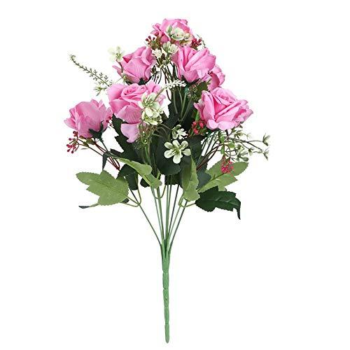 Flores Falsas Rosa Artificial, 41 cm / 16,1 Pulgadas Plástico Lavable Blanco/Rosa/Champán/Melocotón Flores de plástico de simulación, para Bodas, Jardines,(Pink)