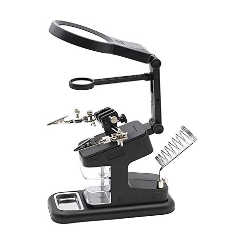 Lupas iluminadas montadas en la cabeza , Magnifier de escritorio Multifunción con soporte eléctrico de hierro 3x / 4.5x / 25x lupa de lupa lupa con luz para lectura de joyería. Montaje electrónico, bl