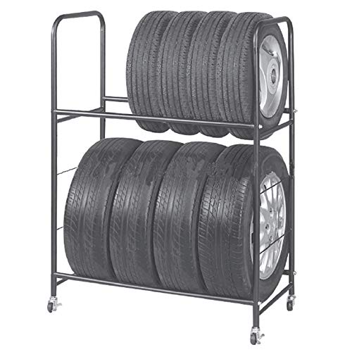 Garage Shelving Tire Storage Rack – Heavy-Duty Metal, Adjustable, Rolling Tire Stand with Caster Wheels & Protective Cover