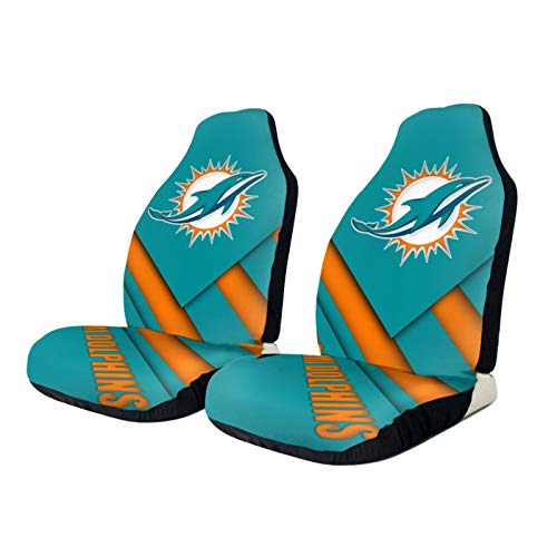 Stockdale Miami Dolphins Car Seat Cover 2 pcs,American Football Design Car Seat Covers Front Seats Only Universal fit Auto Sedan Truck SUV,Easy Install