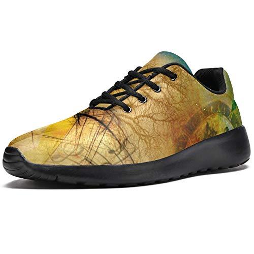 Zapatillas deportivas para correr para mujer, reloj de mariposa, notas musicales, árbol de la ciudad, retro, de malla, transpirables, para caminar, senderismo, tenis, color, talla 39 EU
