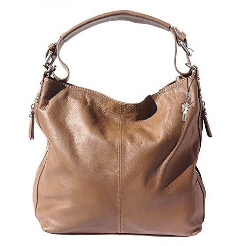 Florence Damen Beuteltasche Tasche braun Taupe echtes Leder 35x10x28 cm OTF101C Leder Beuteltasche