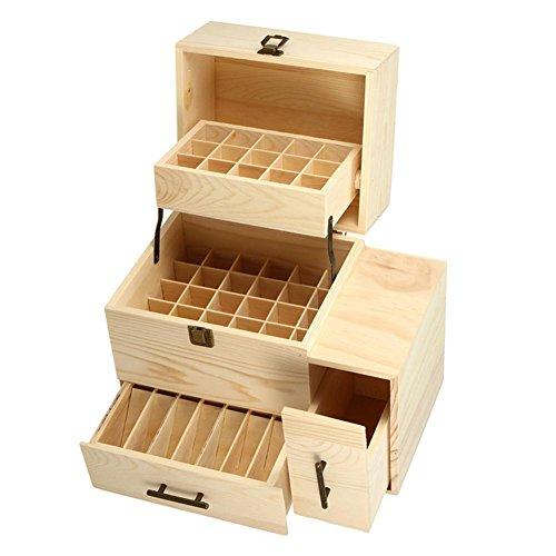 Oil Wooden opbergbox, 25 sleuven voor 45 etherische olieflessen en 14 flessen voor reizen en presentaties.