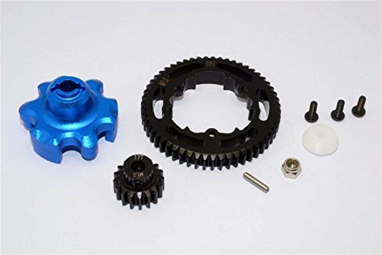 Traxxas XMaxx 4X4 Tuning Teile Aluminium Gear Adapter + Steel Spur Gear 55T + Motor Gear 17T (For XMaxx 6S Only)  1 Set blueee