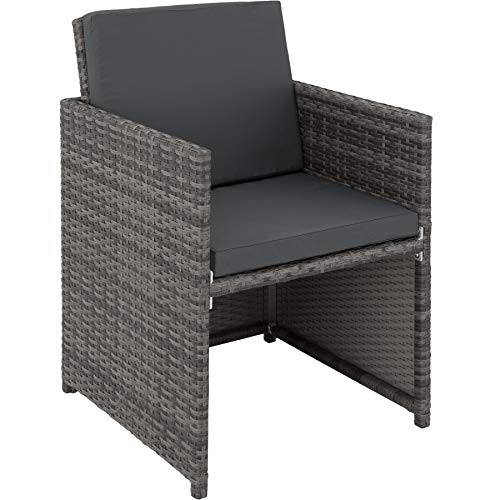 TecTake 403086 Aluminium Poly Rattan Sitzgruppe 6+1+4, klappbar, für bis zu 10 Personen, inkl. Schutzhülle und Edelstahlschrauben, grau - 6