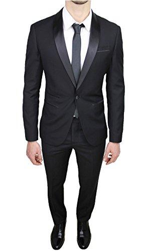 Abito Completo Uomo Sartoriale Raso Nero Lucido Vestito Smoking Slim Fit Aderente (60)