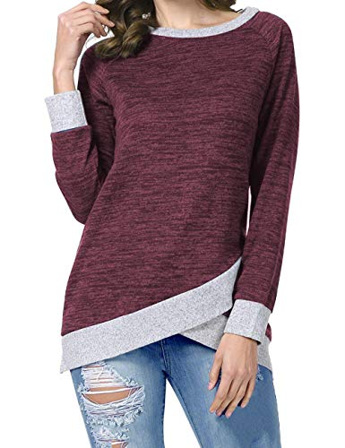 Odosalii Damen Langarm Patchwork Sweatshirt Pullover Casual T-Shirt Asymmetrisch Saum Tunika Tops (Large, A_ weinrot)