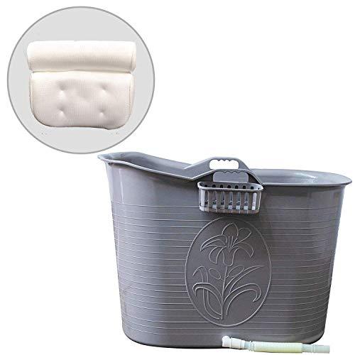 FlinQ Bath Bucket mit Kissen Grau | Mobile Badewanne für Erwachsene mit Nackenkissen | Badewanne Erwachsene XL und Kinder | Badewanne Outdoor | Tragbare Kunststoff Badewanne für Dusche