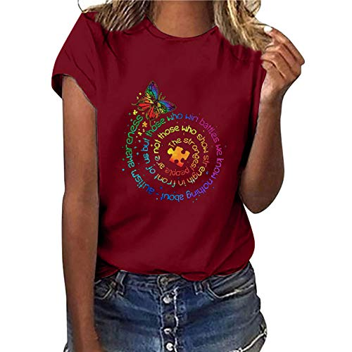 Camiseta de manga corta para mujer, diseño de girasol, estilo informal, básico, cuello redondo, para adolescentes, niñas, túnica, fitness, sudaderas (C-vino, 3XL)