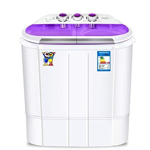 Lavadoras Mini Máquina De Lavado Pequeño Semi-automática Elución Integrados Dos Cilindros (Color : Blanco, Size : 57x36x60cm)