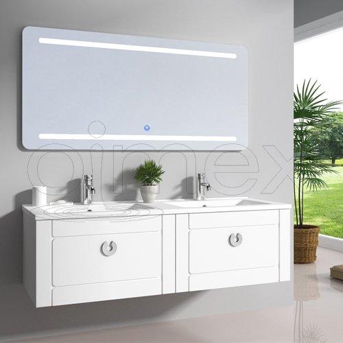 """Oimex Design Badmöbel Set """"Nika"""" Dual Weiss Hochglanz Doppel Waschtisch 120cm inkl. Armatur LED Spiegel Badezimmermöbel Set mit Waschbecken"""