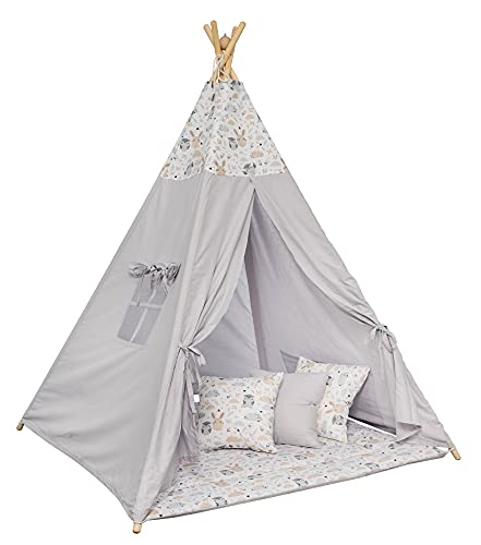 Tipi Spielzelt für Kinder mit Matte Tippi Kinderzelt Kinderzimmer Teepee Wigwam Indianerzelt Outdoor Indoor (GRAU - EULEN)